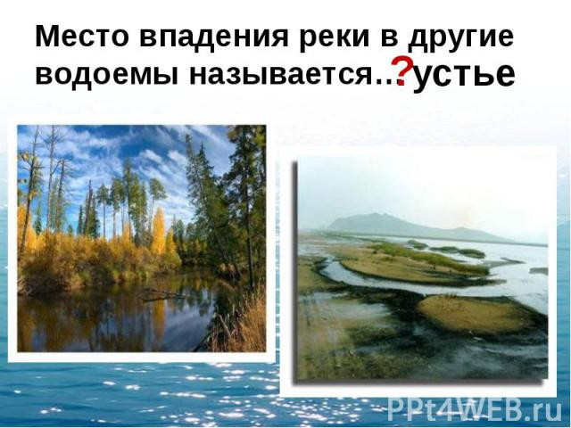 Место впадения реки в другие водоемы называется…