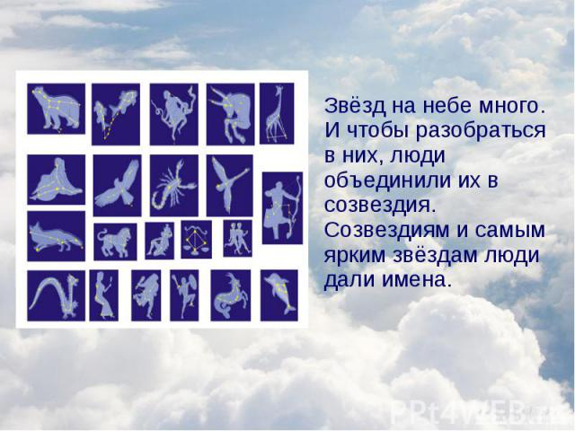 Звёзд на небе много. И чтобы разобраться в них, люди объединили их в созвездия. Созвездиям и самым ярким звёздам люди дали имена. Звёзд на небе много. И чтобы разобраться в них, люди объединили их в созвездия. Созвездиям и самым ярким звёздам люди д…