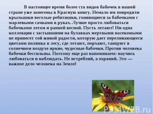 В настоящее время более ста видов бабочек в нашей стране уже занесены в Красную