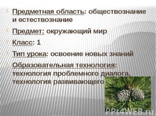 Предметная область: обществознание и естествознание Предмет: окружающий мир Клас