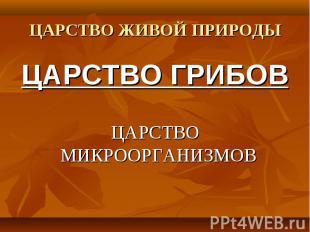 ЦАРСТВО ГРИБОВ ЦАРСТВО ГРИБОВ ЦАРСТВО МИКРООРГАНИЗМОВ