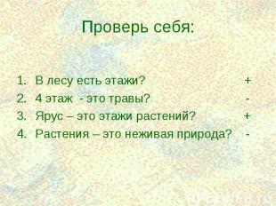 В лесу есть этажи? + В лесу есть этажи? + 4 этаж - это травы? - Ярус – это этажи