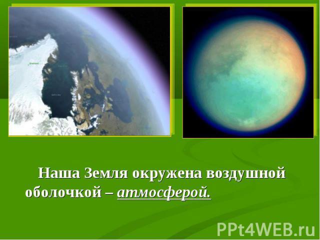 Наша Земля окружена воздушной оболочкой – атмосферой. Наша Земля окружена воздушной оболочкой – атмосферой.