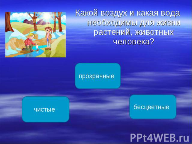 Какой воздух и какая вода необходимы для жизни растений, животных человека? Какой воздух и какая вода необходимы для жизни растений, животных человека?