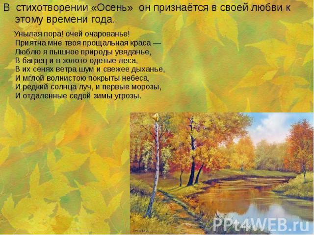 В стихотворении «Осень» он признаётся в своей любви к этому времени года. В стихотворении «Осень» он признаётся в своей любви к этому времени года.  Унылая пора! очей очарованье! Приятна мне твоя прощальная краса — Люблю я пышное п…