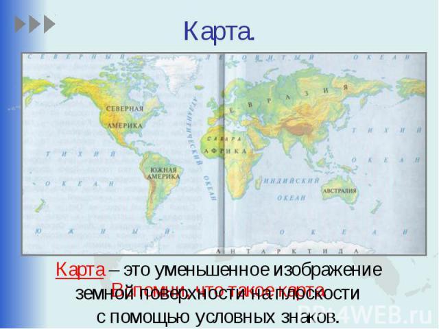 Карта. Вспомни, что такое карта.