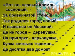 Вот он, первый Кремль сосновый, - Вот он, первый Кремль сосновый, - За бревенчат