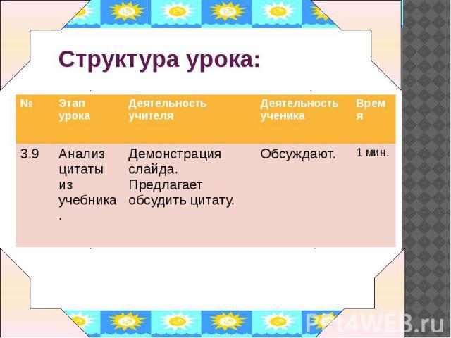 Структура урока: