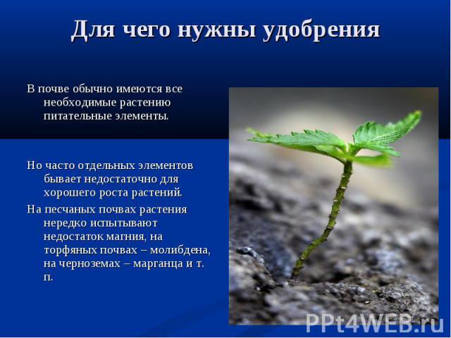 В почве обычно имеются все необходимые растению питательные элементы. В почве обычно имеются все необходимые растению питательные элементы. Но часто отдельных элементов бывает недостаточно для хорошего роста растений. На песчаных почвах растения нер…