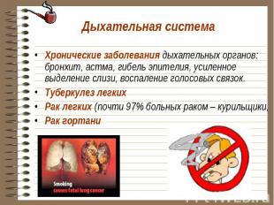 Хронические заболевания дыхательных органов: бронхит, астма, гибель эпителия, ус