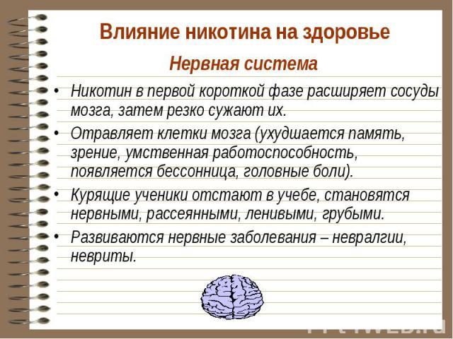 Никотин в первой короткой фазе расширяет сосуды мозга, затем резко сужают их. Никотин в первой короткой фазе расширяет сосуды мозга, затем резко сужают их. Отравляет клетки мозга (ухудшается память, зрение, умственная работоспособность, появляется б…