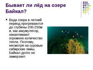 Вода озера в летний период прогреваются до глубины 200-250м и, как аккумулятор,
