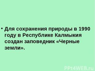 Для сохранения природы в 1990 году в Республике Калмыкия создан заповедник «Черн