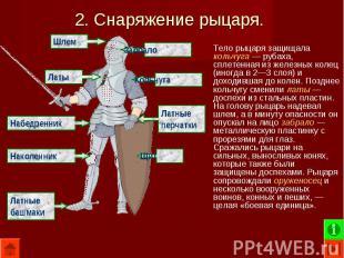 Тело рыцаря защищала кольчуга — рубаха, сплетенная из железных колец (иногда в 2