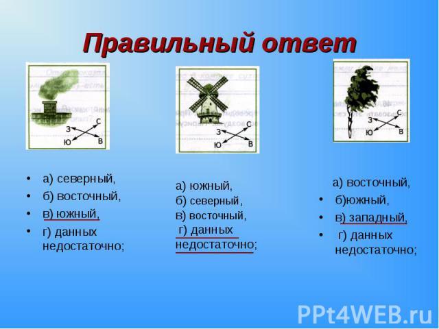 а) северный, а) северный, б) восточный, в) южный, г) данных недостаточно;