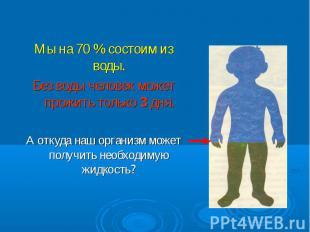 Мы на 70 % состоим из воды. Мы на 70 % состоим из воды. Без воды человек может п