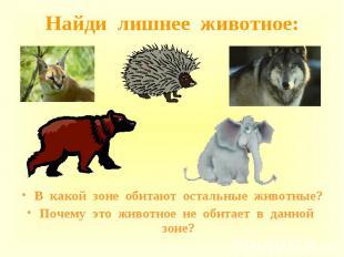 В какой зоне обитают остальные животные? В какой зоне обитают остальные животные