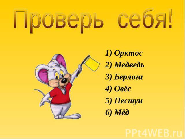 1) Орктос 1) Орктос 2) Медведь 3) Берлога 4) Овёс 5) Пестун 6) Мёд