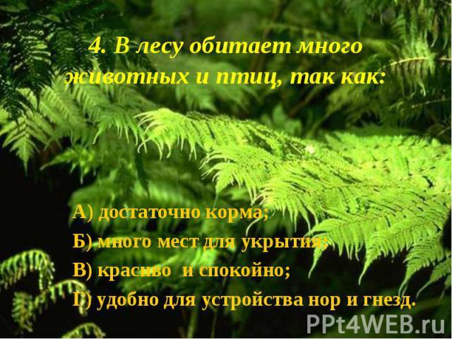 А) достаточно корма; А) достаточно корма; Б) много мест для укрытия; В) красиво и спокойно; Г) удобно для устройства нор и гнезд.