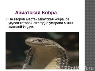Азиатская Кобра На втором месте- азиатская кобра, от укусов которой ежегодно уми
