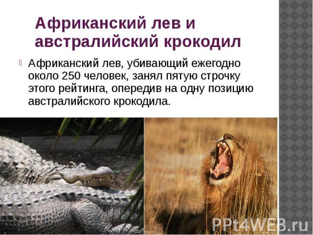 Африканский лев и австралийский крокодил Африканский лев, убивающий ежегодно около 250 человек, занял пятую строчку этого рейтинга, опередив на одну позицию австралийского крокодила.