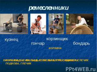 ремесленники КОРЗИНА, БОЧКА, БАДЬЯ, ЛЮЛЬКА, УТЮГ, МАКИТРА, ПОДКОВА, ГЛЕЧИК