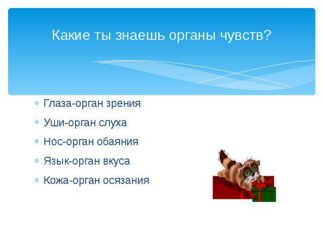 Какие ты знаешь органы чувств? Глаза-орган зрения Уши-орган слуха Нос-орган обаяния Язык-орган вкуса Кожа-орган осязания