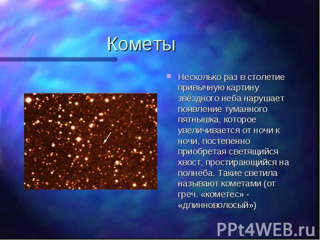 Несколько раз в столетие привычную картину звёздного неба нарушает появление туманного пятнышка, которое увеличивается от ночи к ночи, постепенно приобретая светящийся хвост, простирающийся на полнеба. Такие светила называют кометами (от греч. «коме…