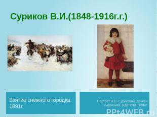 Суриков В.И.(1848-1916г.г.) Взятие снежного городка. 1891г.