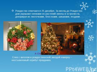 Рождество отмечается 25 декабря. За месяц до Рождества дом украшают венками из р