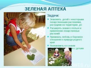 Задачи: Задачи: Знакомить детей с некоторыми лекарственн