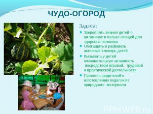 Задачи: Задачи: Закреплять знания детей о витаминах и пользе овощей для здоровья