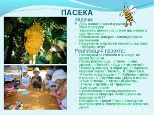 Задачи: Задачи: Дать знания о жизни и развитии пчёл в природе Закрепить знания о