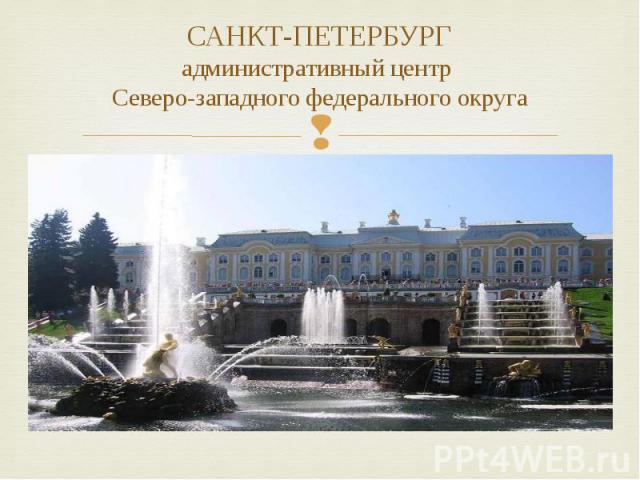 САНКТ-ПЕТЕРБУРГ административный центр Северо-западного федерального округа