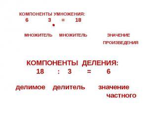 КОМПОНЕНТЫ УМНОЖЕНИЯ: 6 3 = 18 МНОЖИТЕЛЬ МНОЖИТЕЛЬ ЗНАЧЕНИЕ ПРОИЗВЕДЕНИЯ КОМПОНЕ