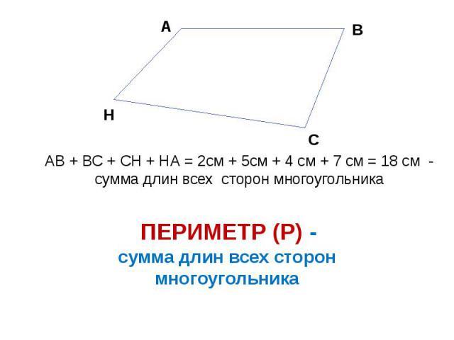 сумма длин всех сторон многоугольника