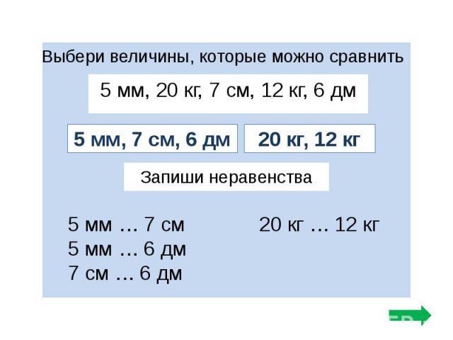 5 мм, 20 кг, 7 см, 12 кг, 6 дм 5 мм, 20 кг, 7 см, 12 кг, 6 дм