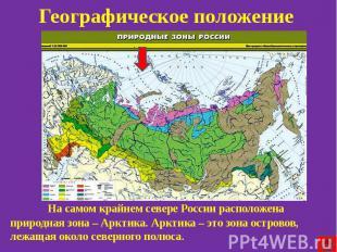 Географическое положение На самом крайнем севере России расположена природная зо