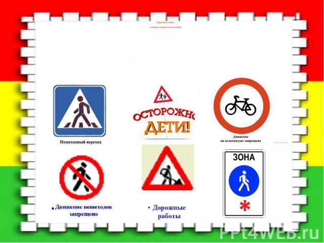 Дорожные знаки, Дорожные знаки, которые должен знать ребенок