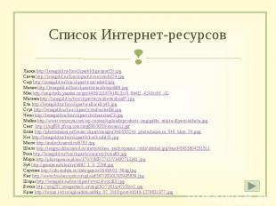 Список Интернет-ресурсов