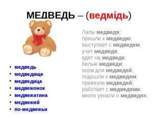 МЕДВЕДЬ – (ведмідь) медведь медведище медведица медвежонок медвежатина медвежий