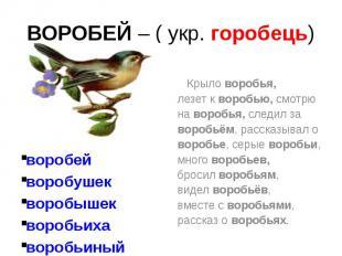 ВОРОБЕЙ – ( укр. горобець) воробей воробушек воробышек воробьиха воробьиный