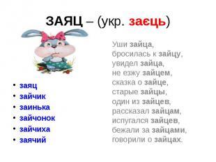 ЗАЯЦ – (укр. заєць) заяц зайчик заинька зайчонок зайчиха заячий
