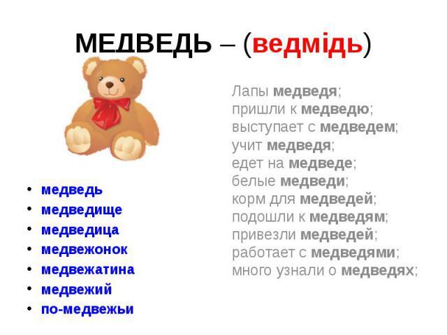МЕДВЕДЬ – (ведмідь) медведь медведище медведица медвежонок медвежатина медвежий по-медвежьи