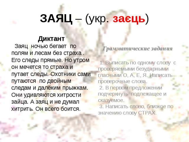 ЗАЯЦ – (укр. заєць) Диктант Заяц ночью бегает по полям и лесам без страха . Его следы прямые. Но утром он мечется то страха и путает следы. Охотники сами путаются по двойным следам и далёким прыжкам. Они удивляются хитрости зайца. А заяц и не думал …