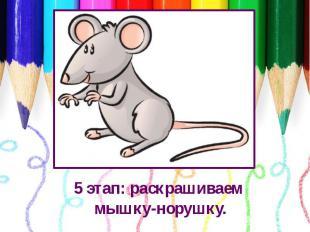 5 этап: раскрашиваем мышку-норушку.