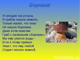 Боровик Я сегодня так устала, Я грибов нашла немало, Только жалко, что пока Не н