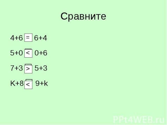 4+6 6+4 4+6 6+4 5+0 □ 0+6 7+3 □ 5+3 K+8 □ 9+k