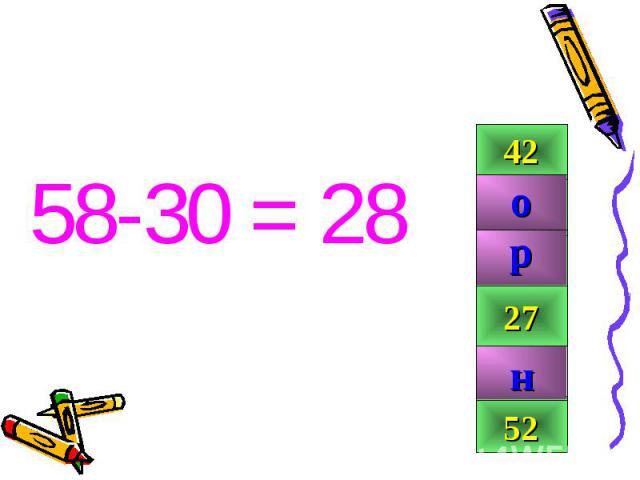 58-30 = 28 58-30 = 28