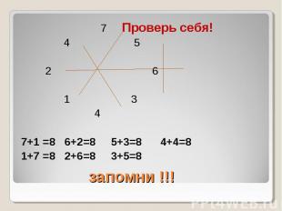 7 Проверь себя! 7 Проверь себя! 4 5 2 6 1 3 4 7+1 =8 6+2=8 5+3=8 4+4=8 1+7 =8 2+